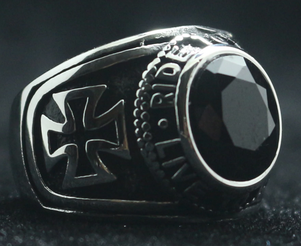 Motorcycle Club Biker Ring (Black Stone) 316L Stainless Steel (Sizes 7-15)