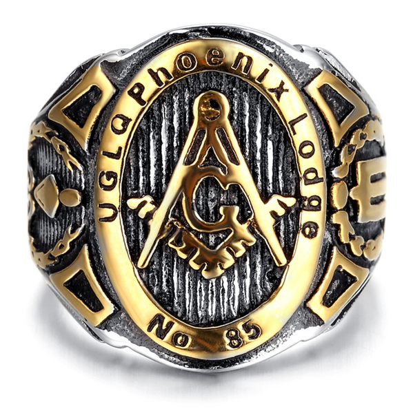 Vintage Mens Stainless Steel (UGLQ Phoenix Lodge) Masonic Ring