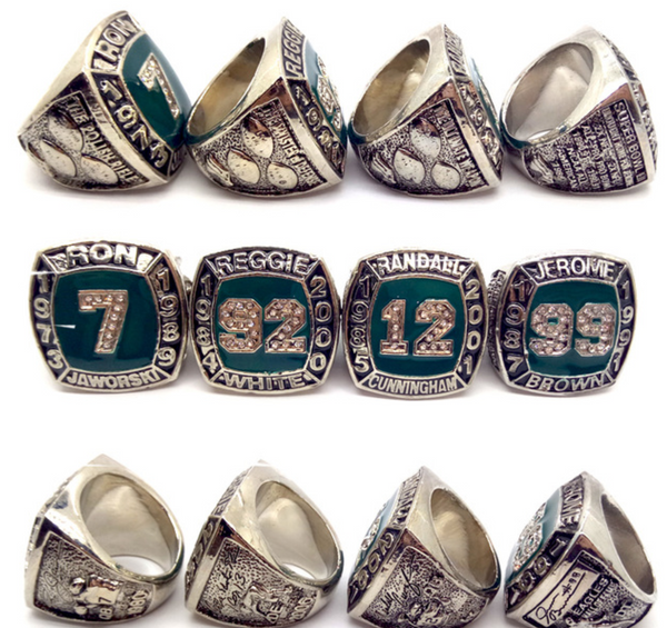 RON JAWORSKI - REGGIE WHITE - RANDALL CUNNINGHAM - JEROME BROWN [4 Ring Set] Replica Hall of Fame Championship Rings