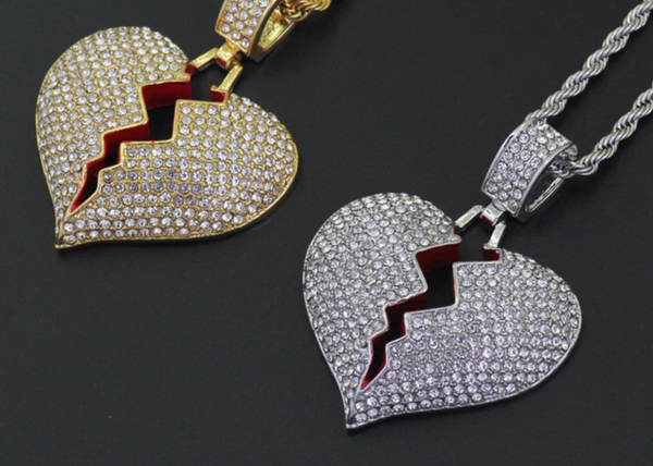 Broken Heart Pendant - Iced Out Rhinestone Tennis Chain Necklace