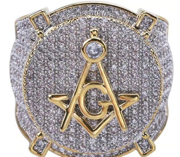 Cubic Zirconia - Master Mason Ring (Sizes 7 - 13)