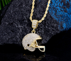 Cubic Zirconia Football Helmet Pendant (Includes Rope Chain)