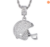 Football Helmet - Cubic Zirconia - Championship Necklace (Includes Rope Chain)