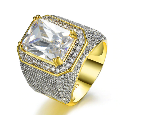 Bishop Ring (Stainless Steel) White (Clear) Cubic Zirconia Gemstone