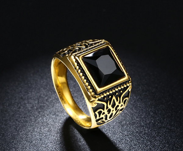 Black Stone (Stainless Steel) Clergy Ring for Bishop / Pastor / Priest / Minister