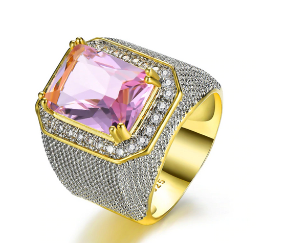 Bishop Ring (Stainless Steel) Pink Zircon Gemstone