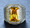 Bishop Ring (Stainless Steel) Orange Zircon Gemstone