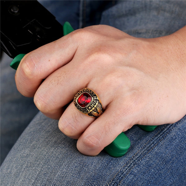 Stainless Steel (CUSTOM NAME) Class Ring - High School Graduation Ring