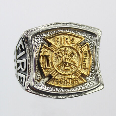 Firefighter Ring (Stainless Steel) Gold Fire Dept (Department) Logo