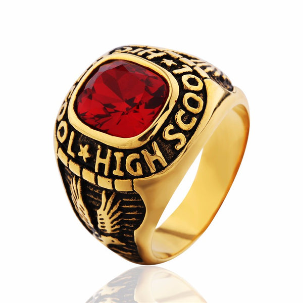 Stainless Steel (Gold Plated) Class Ring - High School Graduation Ring