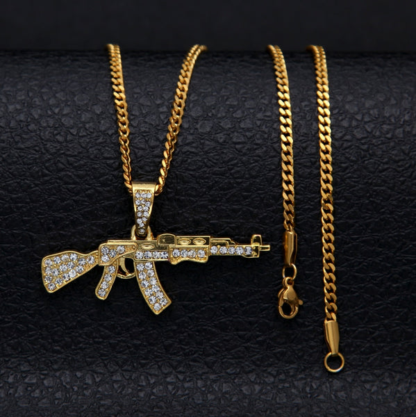 Iced Out AK-47 Pendant with 24 inch Rope Chain