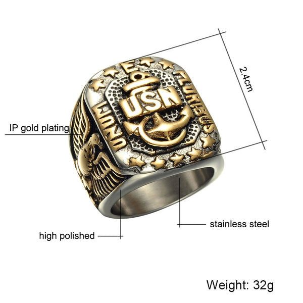 US Navy - Stainless Steel (Titanium) United States Naval Anchor Ring
