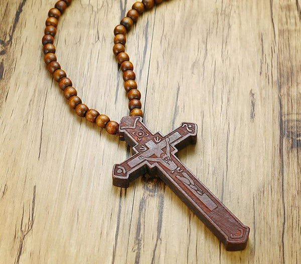 Wooden Bead Carved Rosary Jesus Cross Necklace