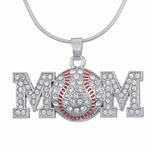 Baseball Mom (Cubic Zirconia) Necklace - Perfect Mother's Day Gift
