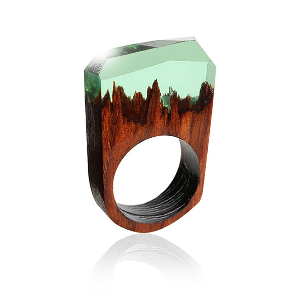 Handmade Wood Resin Ring - Fantasy Mountains Magic Landscape Wooden Rings