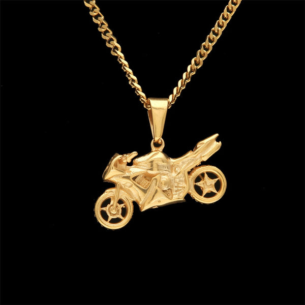Stainless Steel (Gold Plated) Motorcycle Pendant and Rope Chain