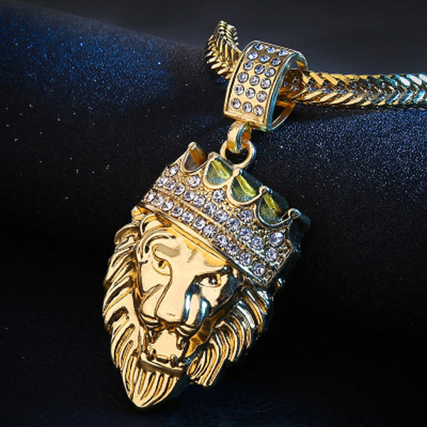 Iced-Out Gold Lion and Crown (King of the Jungle) Necklace with Cuban Chain