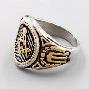 Master Mason - Stainless Steel (Gold Plated) Masonic Ring (Sizes 7 - 13)