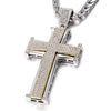 Iced Out 30 inch Jesus Cross Necklace (Black & White Crystal) - Stainless Steel Chain