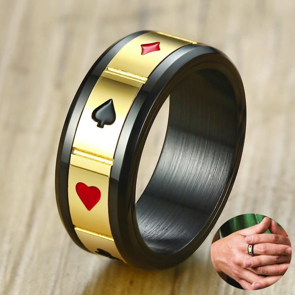 Matte Black (Stainless Steel) Poker Gambling Ring (With Suit Spinner)