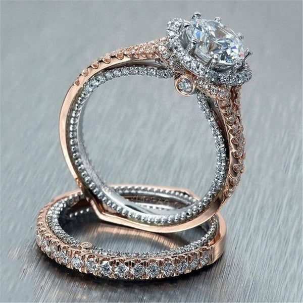 Rose Gold Engagement Ring / Wedding Band (2 pcs Set)