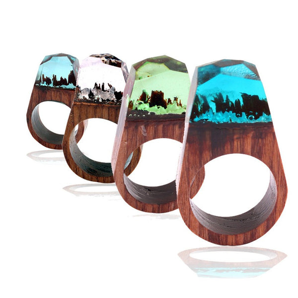 Handmade Wood Resin Ring - Fantasy Secret Landscapes (Collector's Ring for Men and Women)