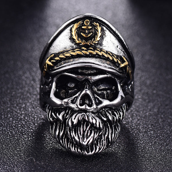 Navy Captain - MC Skull Ring (Stainless Steel)