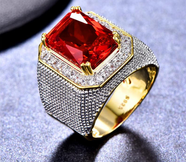 Bishop Ring (Stainless Steel) Red Zircon Gemstone