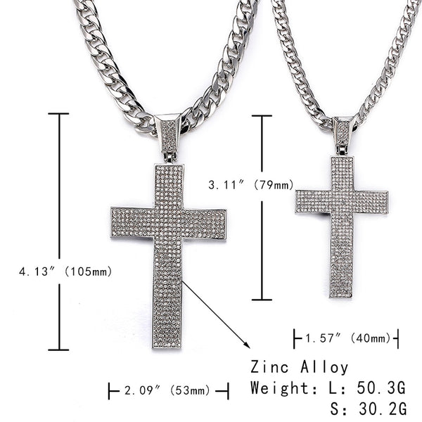 Cubic Zirconia Jesus Cross Necklace (Iced Out Tennis Chain)