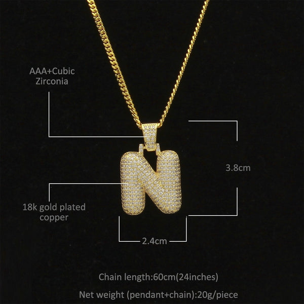 Custom Iced Out Pendant for your Initials (Bubble Letters A-Z) - Necklace and Tennis Chain