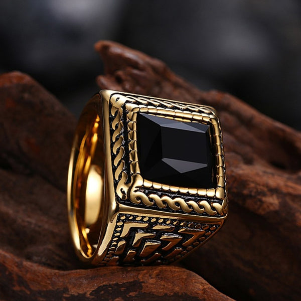 Black Stone  (Stainless Steel) Clergy Ring for Pastor / Priest / Apostle / Minister