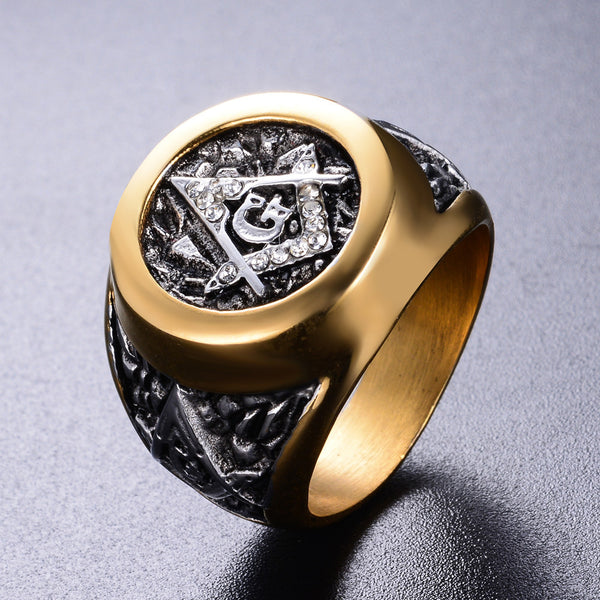 Iconic Gold-Plated (Stainless Steel) Masonic Ring - Free and Accepted Masons (Sizes 6-14)