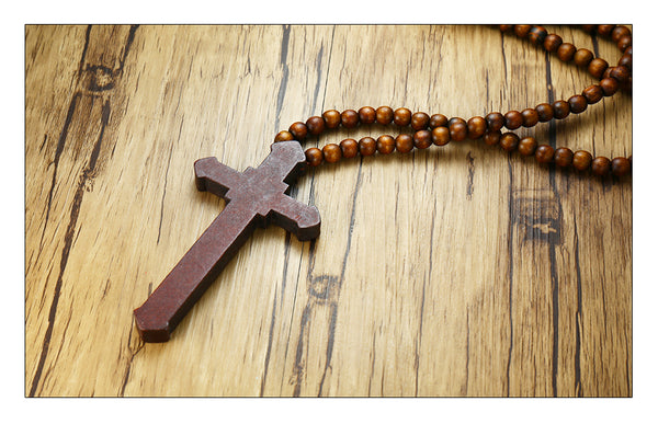 Wooden Bead (Carved Rosary) Jesus Cross Necklace