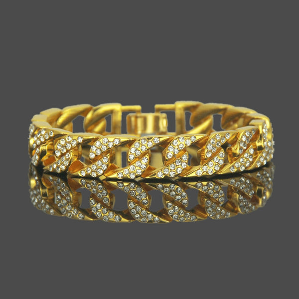Iced Out (Gold) Miami Cuban Bracelet - Cubic Zirconia Diamond Bracelet