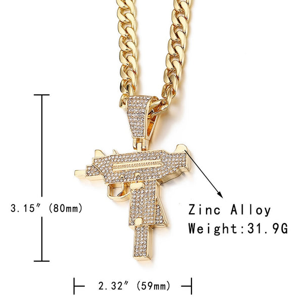 Iced Out Uzi (Machine Gun) Pendant  - Cubic Zirconia Tennis Chain Rhinestone Necklace