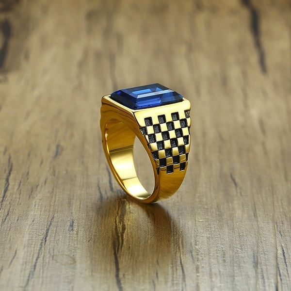 Men's  Royal Blue CZ Rhinestone (Stainless Steel) Signet Ring - Checkerboard Sides