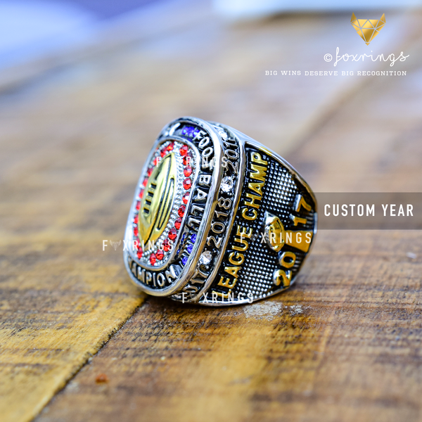 PREMIUM ULTIMATE Golden Football (2011-2018) - Fantasy Football League (CUSTOM NAME) Championship Ring