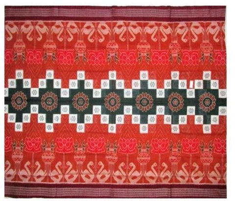 Sambalpuri Cotton Saree with Unique Swans, Lotus & Flowers Designs
