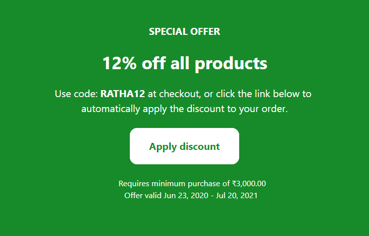 Ratha Yatra Special Sale, Use Code: RATHA12 & Save 12% Extra