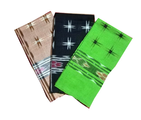 Sambalpuri Cotton Hankies. 22x22 size. Set of 3-Handkerchiefs-OdiKala Accessories-OdiKala