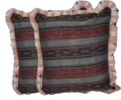 OdiKala Sambalpuri Ikat handwoven Cushion cover - Set of Two-Cushion Cover-OdiKala-OdiKala