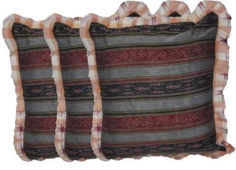 OdiKala Sambalpuri Ikat handwoven Cushion cover - Set of Three-Cushion Cover-OdiKala-OdiKala
