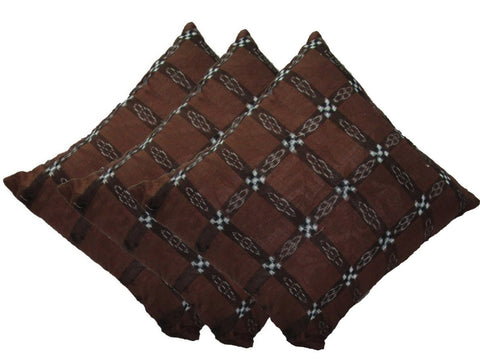 Odikala Sambalpuri Cushion Cover In Saddle Brown Color - Set Of Three Cushion Cover