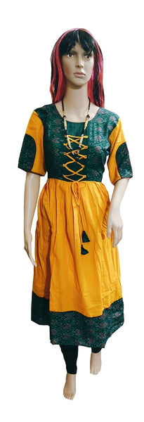 Anarkali design sambalpuri Cotton REadymade Kurti. Size-40 (L)