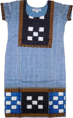 Exclusive Sambalpuri Cotton Kurti, Light Steel Blue Color, Size-34 inches