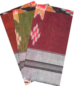 Sambalpuri Handloom Cotton Handkerchiefs, Set of 3-Handkerchiefs-OdiKala-OdiKala