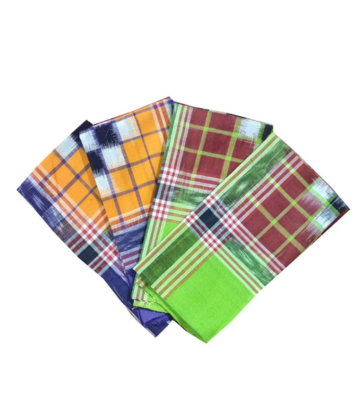 Sambalpuri cotton Hankies. 20x20 size. Set of 4-Handkerchiefs-OdiKala Accessories-OdiKala