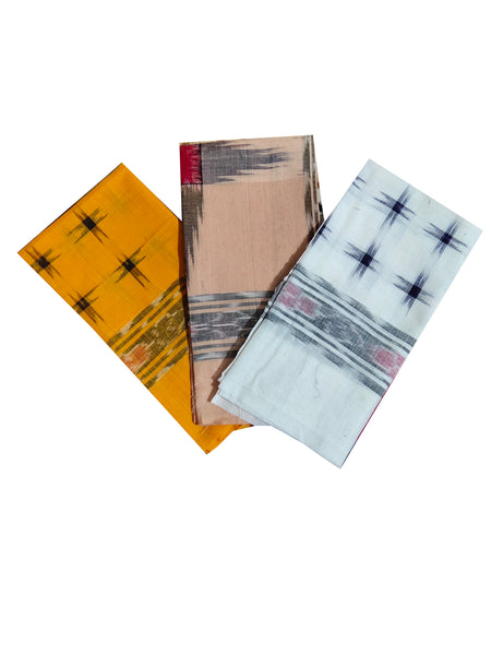 Sambalpuri Cotton Hanky. Size-22x22. Set of 3