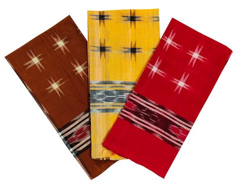Sambalpuri Cotton Handkerchief. Size - 22x22. Set of 3