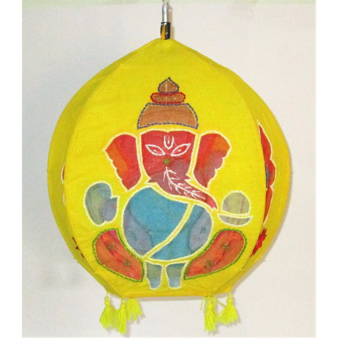 Unique colorful Lamp like Roof Hanging from Pipili-Appliques-OdiKala Handicrafts-Yellow ganes-20 cm length and 39 cm diameter-OdiKala